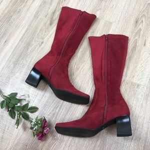 Franco Sarto Red Sock Boots Thick Heeled Boots